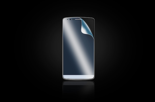 Phone protection film on screen.