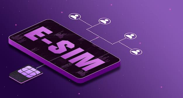 Phone providing communication between people using a esim 5g card 3d