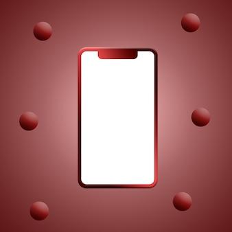 빈 화면 및 공 3d 렌더링 전화 빨간색