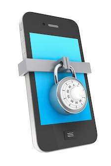 Концепция безопасности телефона. мобильный телефон с замком на белом фоне