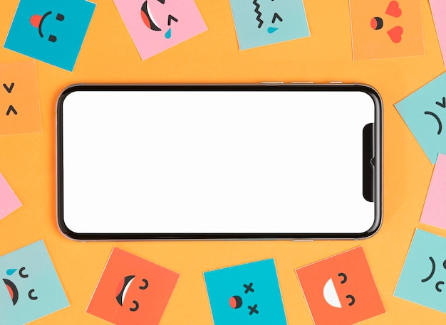 Phone and smiling faces on yellow background