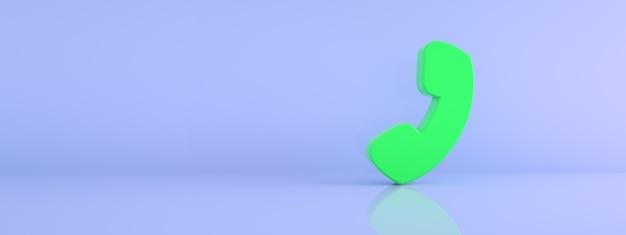 파란색 배경, 3d 렌더링, 파노라마 이미지 위에 전화 기호