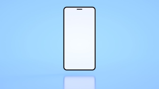 青い背景の3dレンダリングに白い画面と電話テンプレート