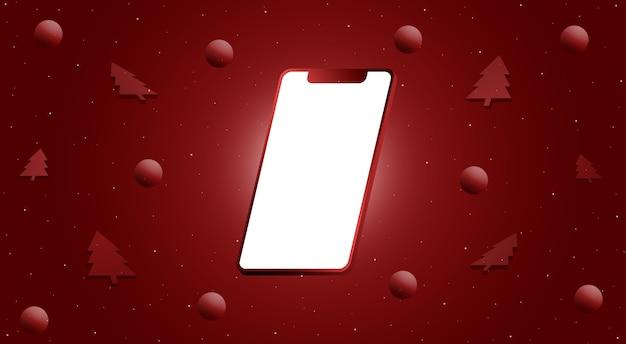 空白の画面と3dボールと木が付いている電話。メリークリスマスデザインの3dレンダリング