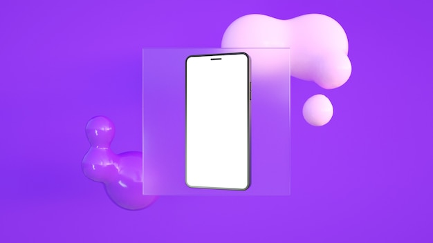 後ろにガラスと紫色の柔らかな貪欲な抽象的な形である白い画面を持つ電話