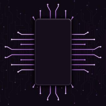 기술 배경, cpu 디자인 3d에 빈 화면이 전화