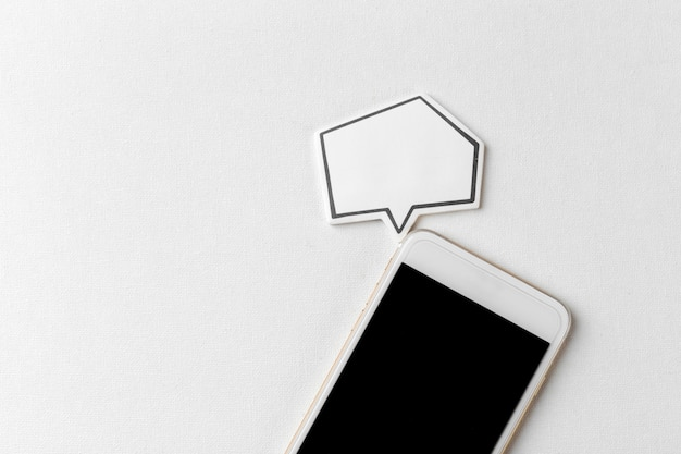 Phone with blank speech bubble