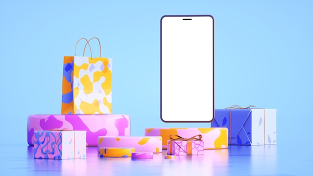 Phone with a bulky screen around which soft shapes gifts and gift bags 3d