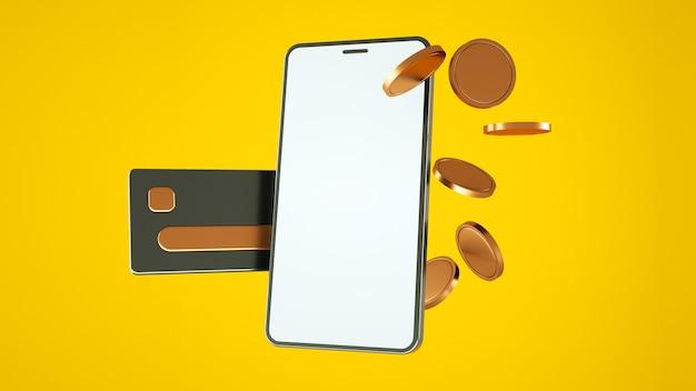 노란색 배경 3d 렌더링에 신용 카드와 금화가 있는 전화