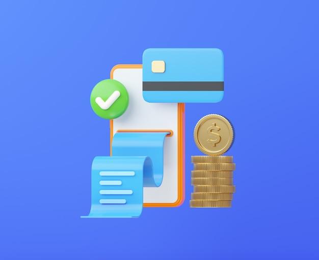 クレジットカードのコインと領収書を備えた電話成功したオンライン支払いの概念