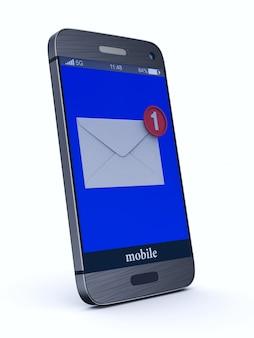 Телефон с электронной почтой на белом.