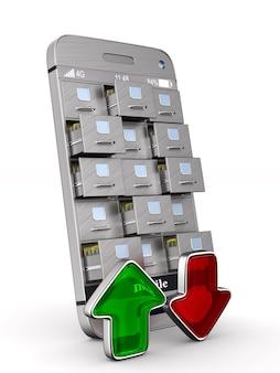 서류 캐비넷과 화살표가있는 전화. 절연, 3d 렌더링