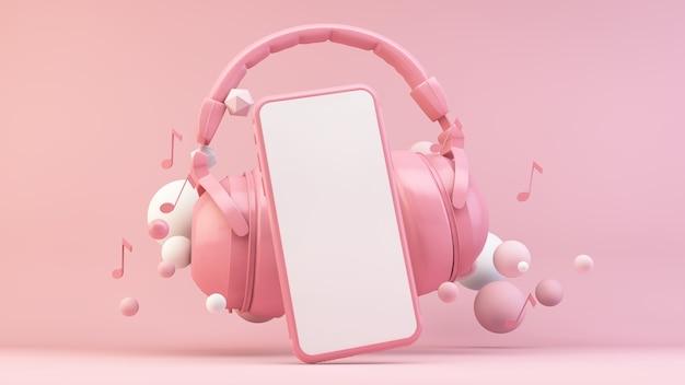 3dレンダリングのピンクのシーンでヘッドフォン付きの電話