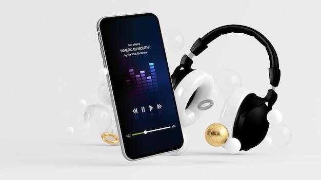 音楽ストリーミングアプリの3dレンダリングを備えたヘッドフォン付きの電話