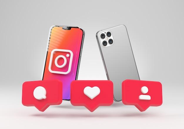 Телефон с instagram как значок уведомлений 3d рендеринга в социальных сетях