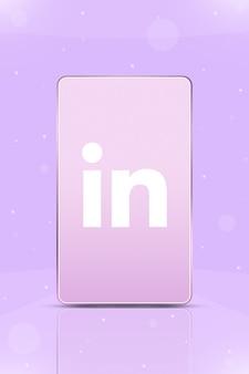 화면 3d에 인스타그램 로고 아이콘이 있는 전화