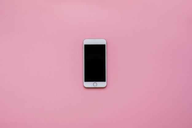 Phone with pink background