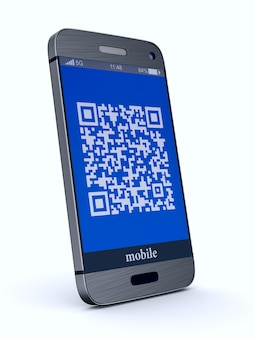 Phone with qr code on white.