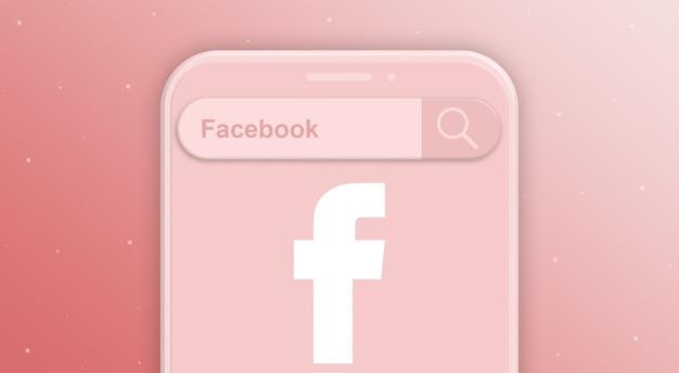 Телефон с запросом на панель поиска и логотипом социальной сети facebook 3d