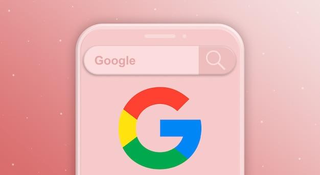 Телефон с запросом на панель поиска и логотипом социальной сети google 3d