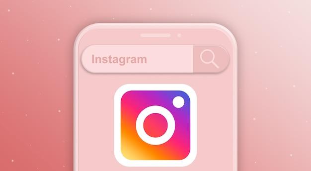 소셜 네트워크 instagram 3d의 검색 표시줄 요청 및 로고가 있는 전화