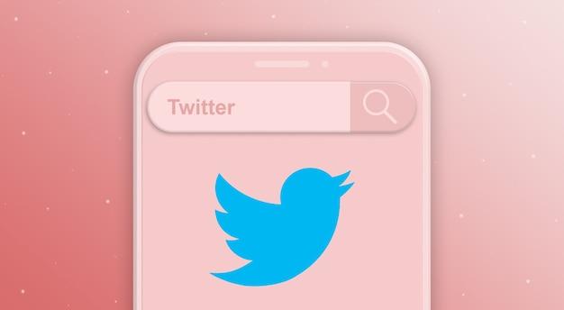 検索バーのリクエストとソーシャルネットワークのロゴが付いた電話twitter3d