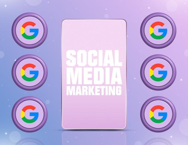 화면에 smm이 있는 전화와 3d 주변의 소셜 네트워크 google 아이콘