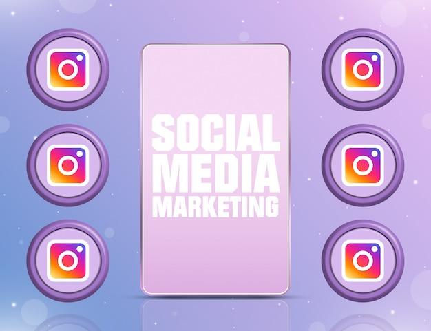 화면에 smm이 있는 전화와 3d 주변의 소셜 네트워크 instagram 아이콘