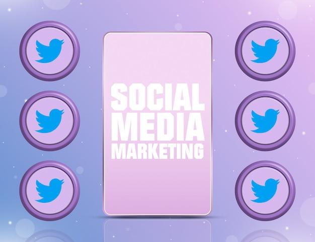 화면에 smm이 있는 전화 및 3d 주변의 소셜 네트워크 twitter 아이콘