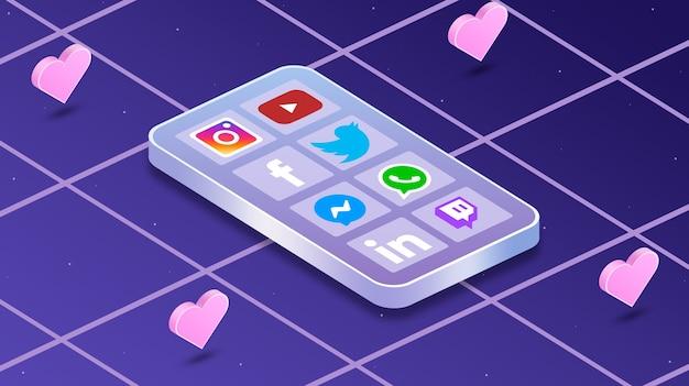 Телефон с иконками социальных сетей на экране и сердечками вокруг 3d