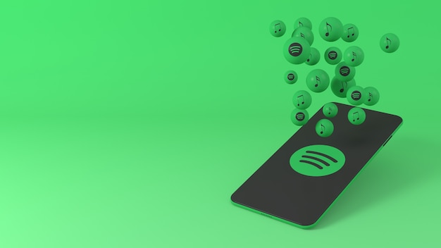 Phone with spotify popping up icons