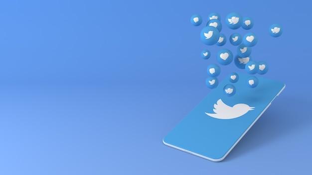 Телефон с всплывающими иконками twitter