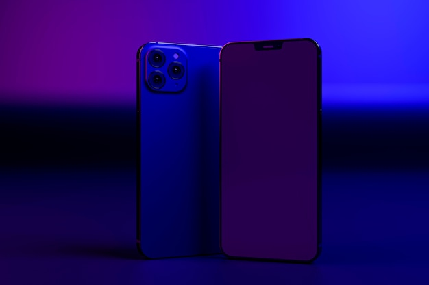 Disposizione dei telefoni alla luce colorata