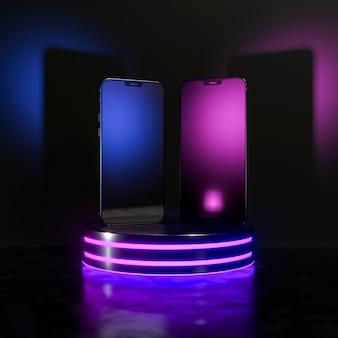 Phones arrangement in glowing light