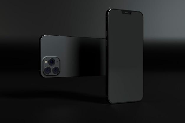 暗い背景の電話の配置