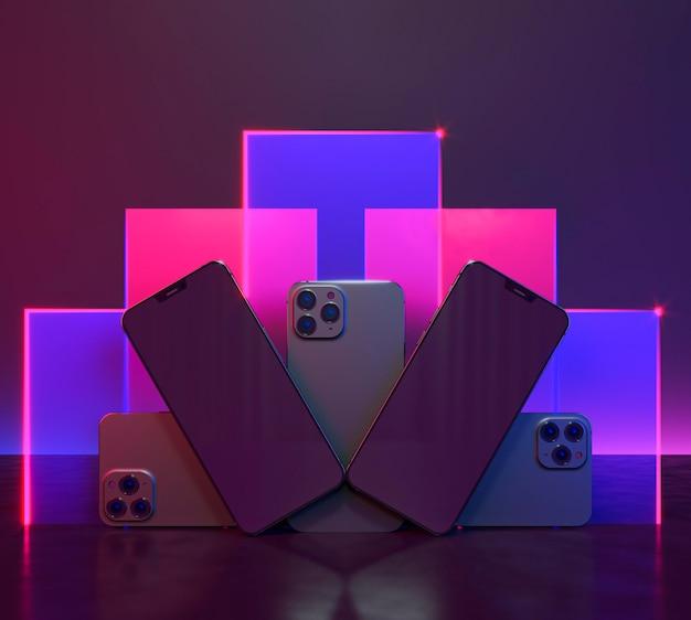 Компоновка телефонов с неоновым светом