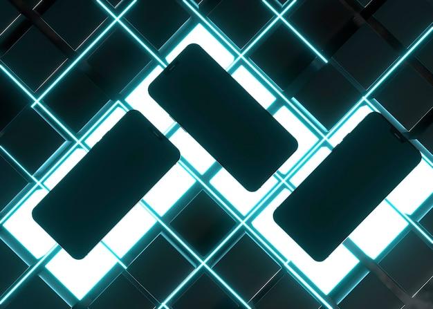 Телефоны в вид сверху светящийся свет