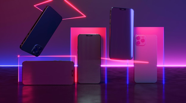Phones with neon light arrangement