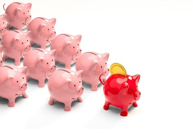 隠phor、リーダーの赤い貯金箱、ピンクの信者