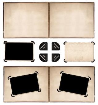 Страница фотоальбома с рамками и углами в стиле ретро, изолированными на белом фоне