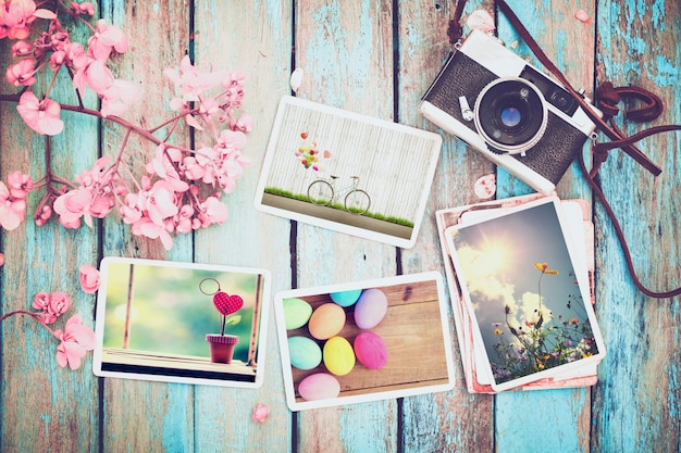Photo album remembrance of holiday in spring