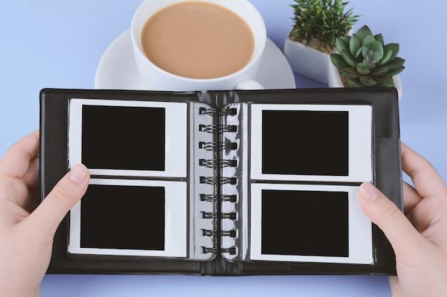 Photo album with blank instant photos