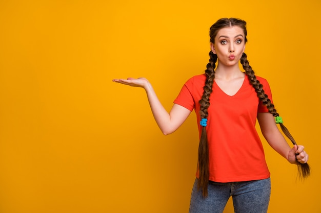 Photo of attractive lady hold open arm empty space