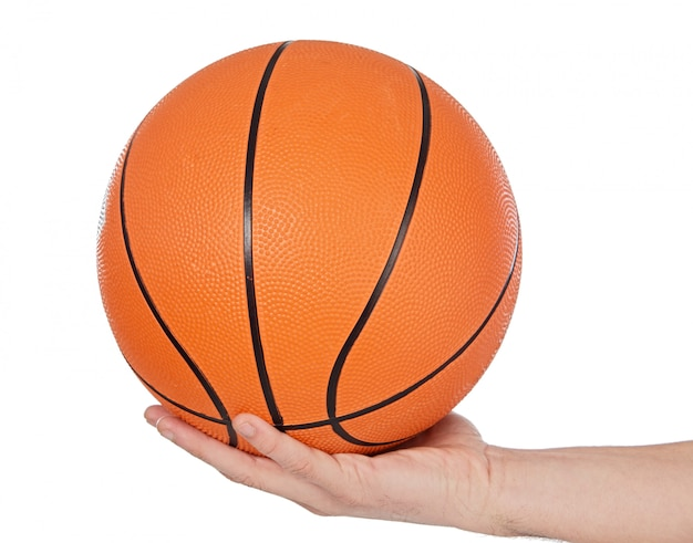A photo of a basketball on white background