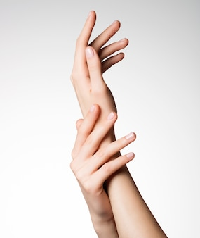 Photo of a beautiful elegant female hands with healthy clean skin