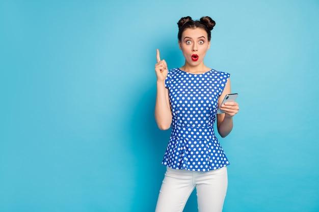 Photo of beautiful funny lady hold telephone raise finger up
