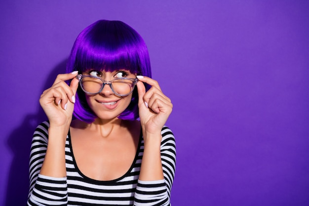 Photo of beautiful lady listen terrible news wear specs wig striped pullover isolated purple background