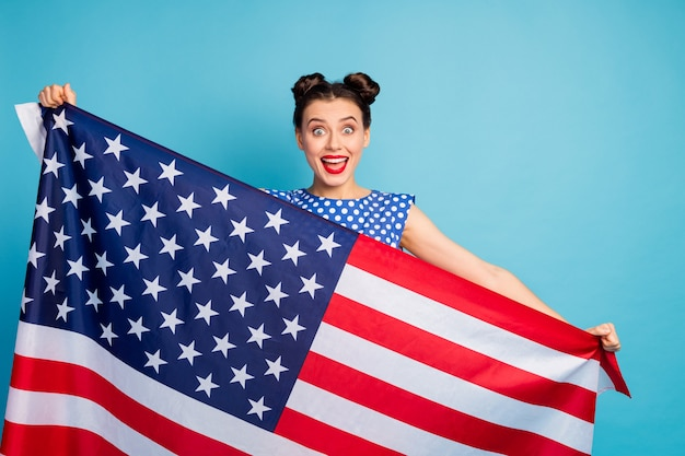 Photo of beautiful pretty lady open mouth holding big usa american flag