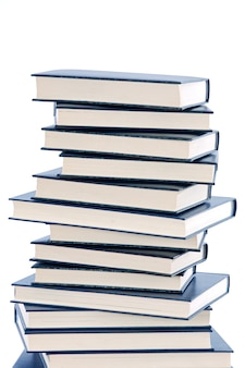 A photo of a book tower a over white background