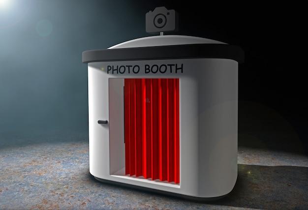 黒の背景にボリュームライトで赤いカーテンの写真ブース。 3dレンダリング